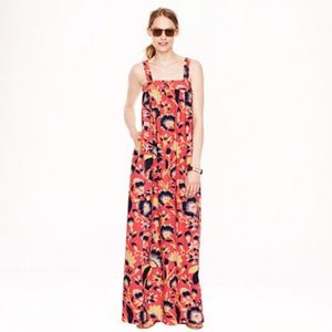 J Crew Hibiscus Floral Maxi Dress